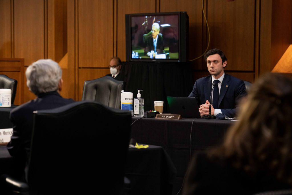 Senator Ossoff asking a question of Attorney General nominee Merrick Garland at his confirmation hearing.